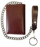 New Hand Dyed Brown Leather Trifold Trucker, Biker Chain Wallet USA Made