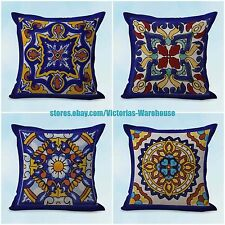 US SELLER- 4pcs throw pillows for leather couch cushion covers Spanish talavera