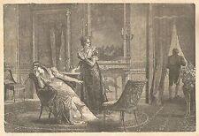 C5158 L'imperatrice Giuseppina_Annuncio divorzio - Incisione antica - Engraving