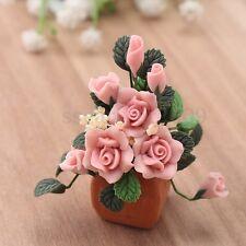 1:12 Doll House Miniature Rose Flower Plant Pot Craft Ornament Garden Decor