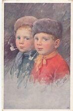 CHILDREN :Two boys smoking pipes-K FEIERTAG-B.K.W.I.