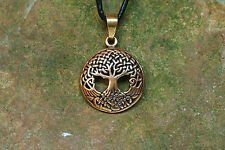 Pendant Amulet Yggdrasil Bronze Small with Leather Strap Viking Worlds Ash Tree