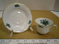 Green Floral Lattice Va Portugal Espresso Demitasse Cup & Saucer Set w/Gold Trim