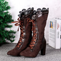 Women's' Victorian Lace Steampunk Gothic Lolita Shoes Block Mid Calf Boots