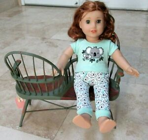 """American Girl Doll size Windsor Wood bench dbl Sided courting chair vintage 18"""""""