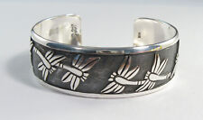 925 sterling silver cuff bracelet with dragonfly design by Maria Belen