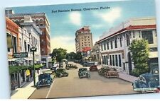 Fort Harrison Avenue Ave Clearwater Florida Good Year Vintage Linen Postcard B97