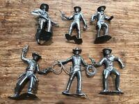 Recast Marx 3 Inch Cowboys. 6 Cowboys In 6 Poses. Silver Color Plastic.