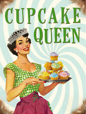CUPCAKE QUEEN BAKING COOKING KITCHEN METAL SIGN TIN PLAQUE SHABBY CHIC RETRO 5