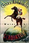 Gladiator Bicycles 1900 Cycles Automobiles Vintage Poster Print Retro Style