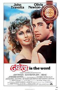 GREASE 1978 70s JOHN TRAVOLTA ORIGINAL CINEMA MOVIE FILM PRINT PREMIUM POSTER