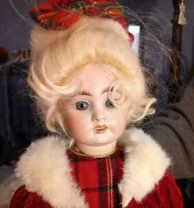 Antique 17-Inch AM 1894 Doll In Red Velvet And Gold/Red/Green Plaid Bodice Dress