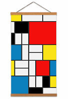 Mondrian Composition Red Yellow Blue Black Canvas Wall Art Print Poster