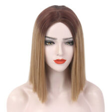 Women Bob Wig Short Ombre Straight Synthetic Hair Colorful Cosplay Costume W/Cap