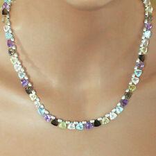 U&C Sundance Multi Hues Gemstone Trillion Drops & .925 Sterling Silver Necklace