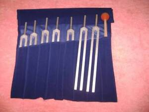 7 Pc Set Chakra Tuning Forks & Mallet for Reiki Healing Machine Made