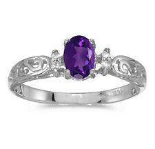 Genuine Amethyst and Diamond Victorian Style Band 10K White Gold Ring
