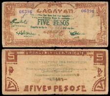 5 Pesos WW2 Philippine CAGAYAN Emergency Note
