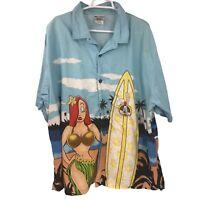 Disney World Jessica Roger Rabbit Mens 2XL XXL Blue Button Up Shirt Hang Loose
