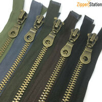 No8 HEAVY DUTY Antique Brass Metal Zips - Open end Zipper - Black (AB8OE)