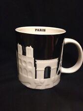Starbucks Paris Mug Relief Black Notre Dame Louvre Eiffel Tower Arc Seine White