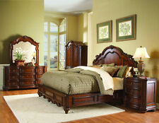Prenzo Traditional Design King Low Profile Panel Bed 4 pc Bedroom Furniture Set