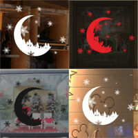 Xmas Moon Snowflake Wall Sticker Home Bedroom Window DIY Art Vinly Wall Stickers