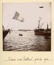 """Algérie, Le Croiseur russe """"Svetlana"""" pris du quai, 1898, Vintage citrate print"""