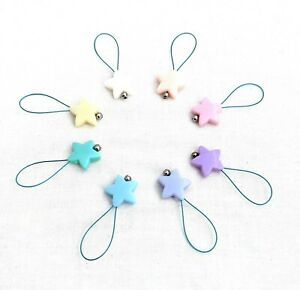 set of 8 star shaped stitch markers rainbow pastel colours acrylic beads
