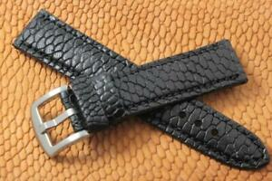 Handmade Genuine Black Beaver Tail Leather Watch Strap  (Made in U.S.A)