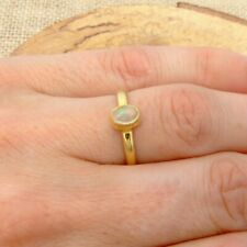 Ethiopian Opal Gold Plated 925 Silver Ring UK Size L 1/2-US Size 6 Jewellery