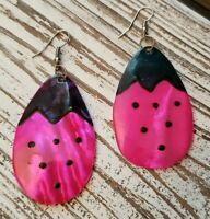 Summer Berries Watermelon Pink Enamel Shell Mother Pearl Dangle Pierced Earrings