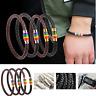 Rainbow Bracelet Titanium Steel Magnet Charm PU Braided Leather Gay Pride