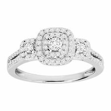 1/2 ct Diamond Halo Engagement Ring in Sterling Silver