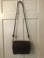 Lanvin Paris brown pebbled leather flap front purse w/ stitching & braided strap