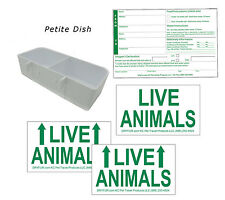 Standard Airline Kennel Travel Kit - Petite Food Water Tray - Live Animal Labels