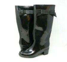 "Kate Spade Black Rain Boots Womens Size 10 ""Randi Too"" Rubber Boot Bow 13.5"""