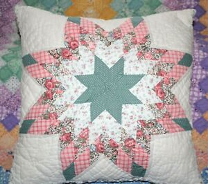 Throw Pillow Made From A Vintage Pink 8 Point Star Farmhouse Patchwork Quilt