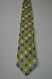 Hemley green silk necktie with polka dot pattern