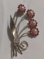 1940s 1950s Pin Brooch Stone unMarked Spray Flowers Gold Tone Red VTG Faux Pearl