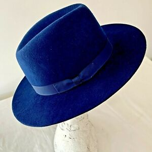 Midnight blue fedora hat Large