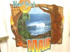 VTG MAUI HARD ROCK CAFE HRC WHITE GRAPHIC T-SHIRT ADULT MEN'S MEDIUM COTTON