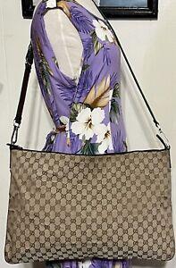 Gucci Brown Monogram GG Web Striped Strap Crossbody Shoulder Bag Extra Large