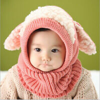 Winter Toddler Baby Kids Warm Hat Girl Boys Hooded Scarf Beanie Caps Hats Cap ff