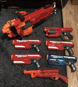 Nerf Mega Bundle 7 Blasters MASTODON Cycloneshock Mega barrel Breaker Lockdown