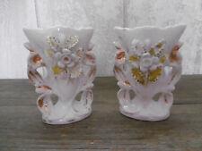 Ancienne Paire de Vase de Mariée porcelaine de Paris Napoléon III église Antique