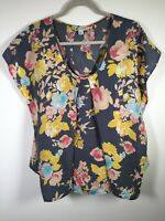 Rockmans womens cement Navy floral blouse top shirt size 10 short sleeve