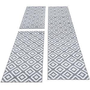 Teppich Läuferset 3-teilig Bettumrandung Karo Design Grau Weiß Meliert