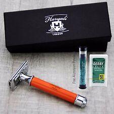 Unique Orange Double Edge Safety Razor + blades | Men's Shaving & Grooming |