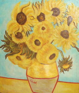 Vintage postimpressionist oil painting still life with sunflowers signed Repro